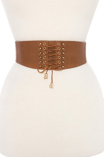 Lace up detailed stretch waist belt