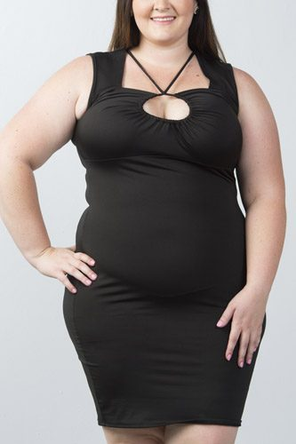 Ladies fashion plus size strappy plunge bodycon dress
