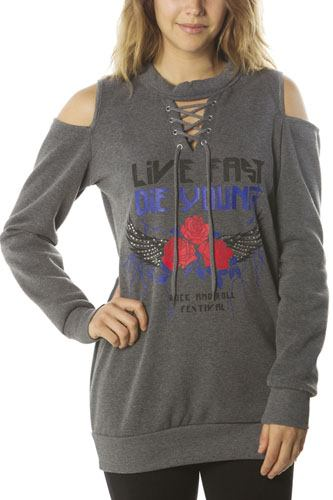 Ladies fashion  sweatshirt cold shoulder mini dress tops, pullover, embellished w/ applique