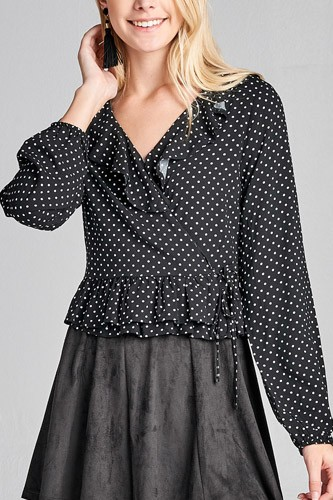 Ladies fashion long sleeve v-neck w/ruffle wrap side ribbon tie dot print woven top