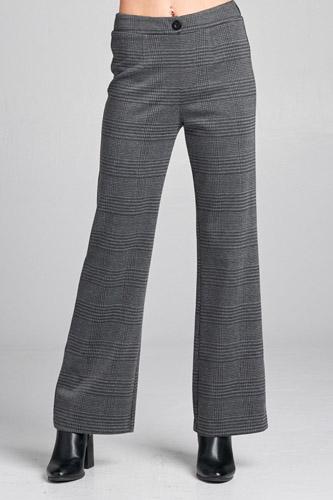 Ladies fashion waist band w/button long wide check pants