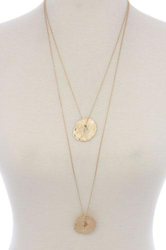 Textured organic shape pendant multi later necklace