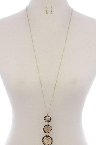 Round filigree beaded pendant long necklace