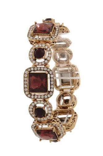 Square shape rhinestone stretch bracelet