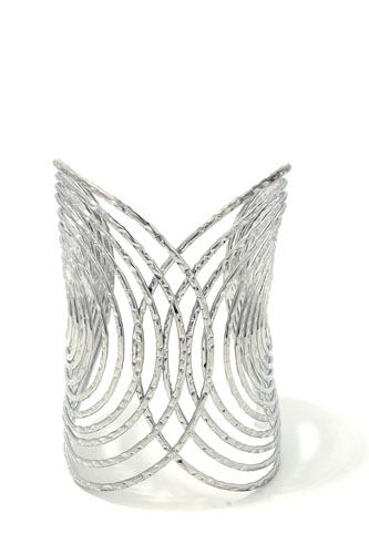 Textured wired design metal cuff bracelet
