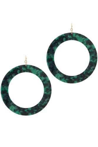 Acetate cut out circle drop earring