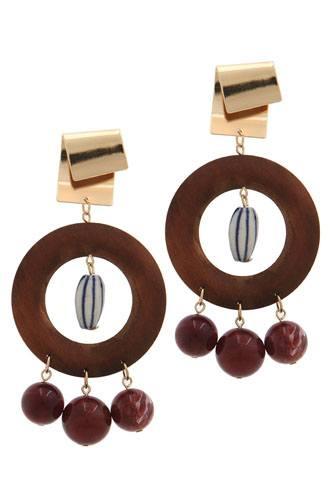 Cut out circle bead drop earring