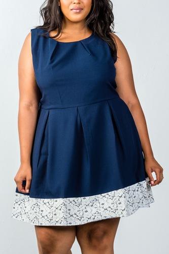 Ladies fashion plus size navy dress