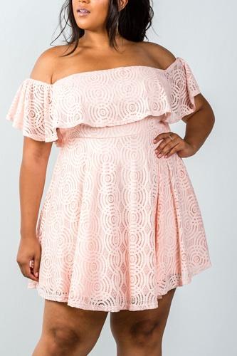 Ladies fashion plus size lace overlay off-the-shoulder flounce dress