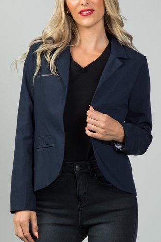 Ladies fashion navy open front blazer
