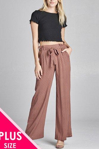 Ladies fashion plus size self ribbon detail long wide leg dot print woven pants