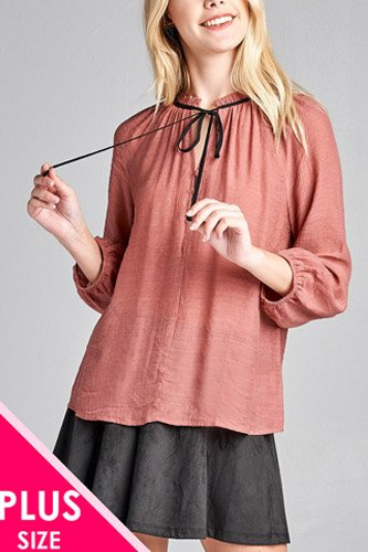 Ladies fashion plus size 3/4 sleeve contrast tie front button detail slub gauze woven top