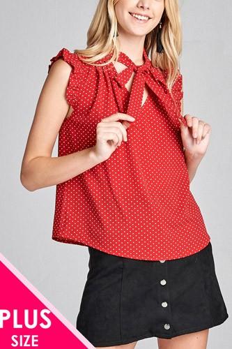 Ladies fashion plus size short ruffle sleeve self tie dot print crepe woven top
