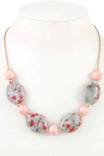 Gemstone oval bead necklace