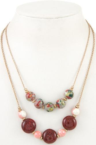 Double row ball bead necklace