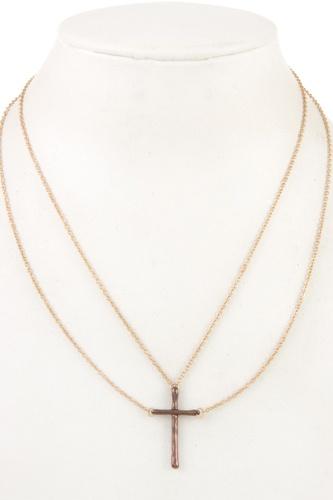 Double chain cross pendant necklace