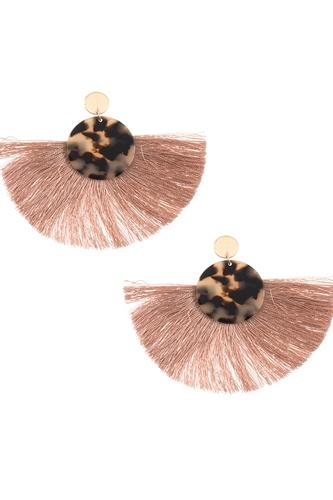 Acetate disk fan out fringe earring