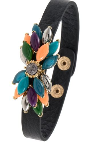 Acrylic floral gem bracelet