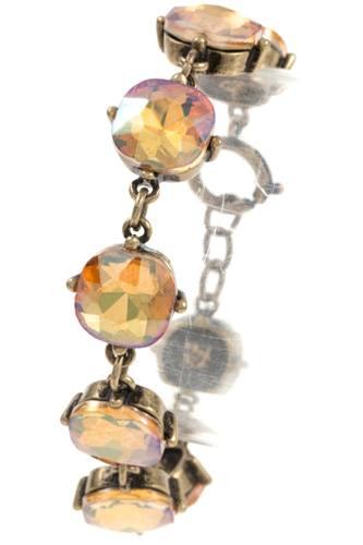 Faceted round framed gem bracelet