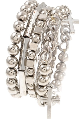 Multi bead cross charm dangle bracelet set