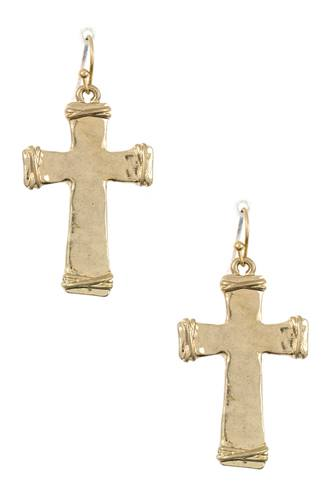 Wired cross dangle earring
