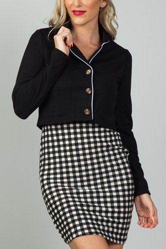 Ladies fashion black and white detail open front cropped blazer