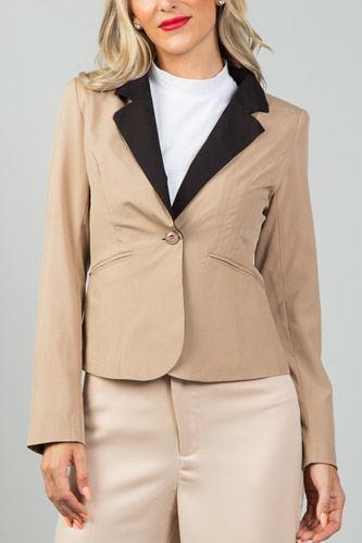 Ladies fashion khaki contrast collar open blazer
