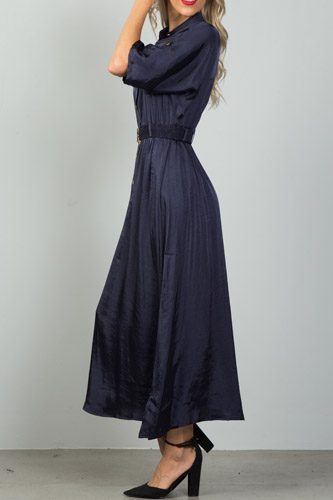 Ladies fashion button down elastic belted maxi dress