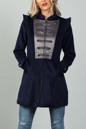Ladies fashion navy pointed shoulder detail long coat