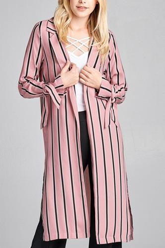 Ladies fashion long sleeve notched collar side slit multi stripe long jacket