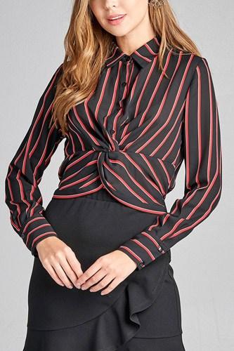 Ladies fashion long sleeve front button w/twisted detail stripe print woven shirt