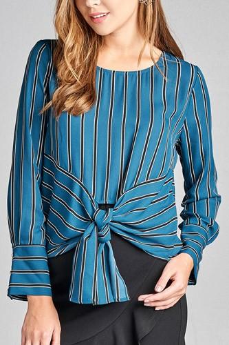 Ladies fashion long sleeve round neck front self tie multi stripe print woven top