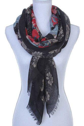 Floral pattern oblong scarf