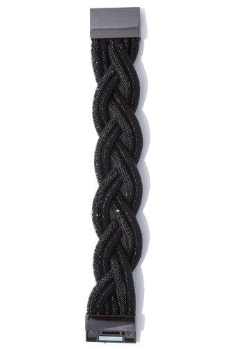 Twisted metallic rhinestone magnetic bracelet
