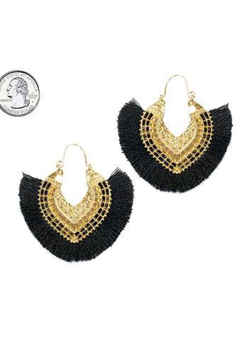 Fan tassel hoop earring