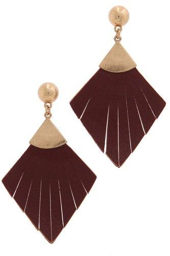 Leather rhombus shape fray post drop earring