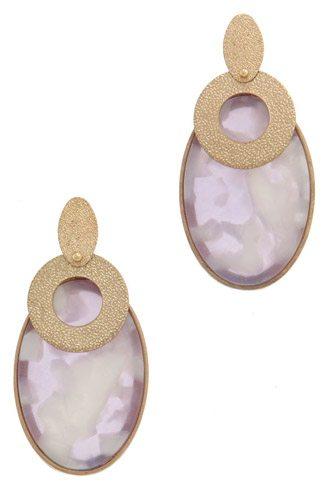 Actetate oval shape post drop earring
