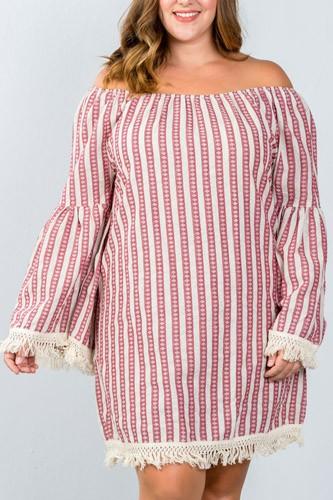 Ladies fashion plus size red geo print off the shoulder mini dress