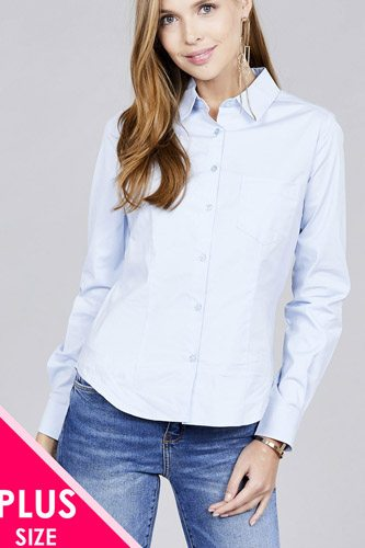 Ladies fashion plus size long sleeve button down stretch shirt