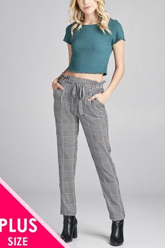 Ladies fashion plus size self ribbon detail long leg checked print woven pants