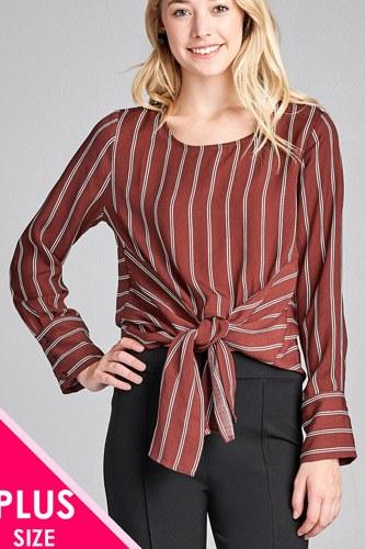 Ladies fashion plus size long sleeve round neck front self tie stripe print woven top