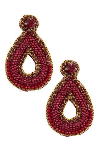 Mix jewel beaded teardrop earring