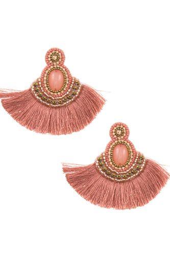 Tassel mix jewel stone dangle earring