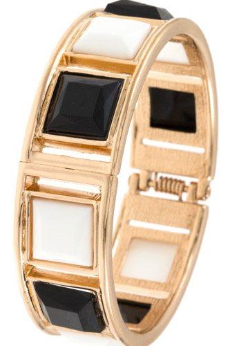 Faceted squared bangle hinge bracelet