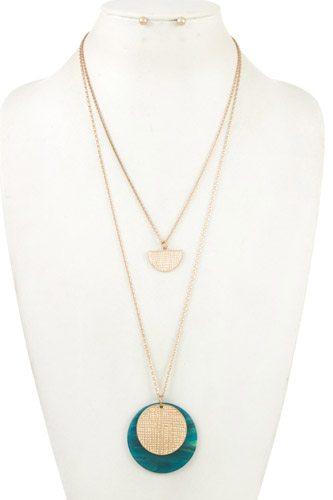 Double row acetate disk pendant necklace set