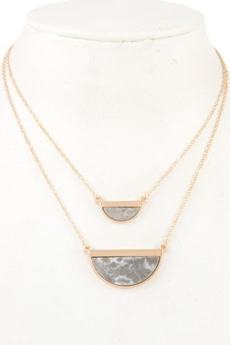 Half framed gemstone double row necklace