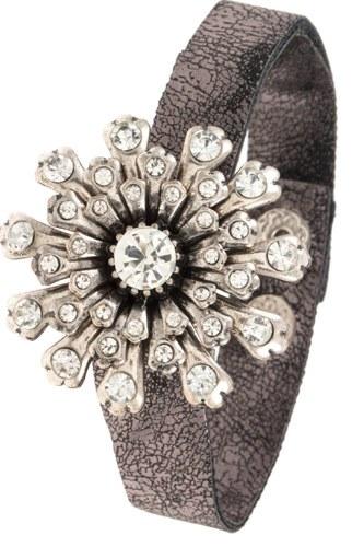 Crystal floral burst orante faux crackled leather bracelet