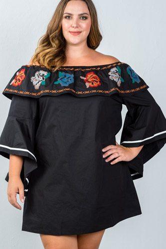 Ladies fashion plus size flounce off the shoulder dress