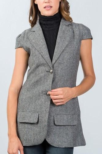 Ladies fashion cap sleeve jacket