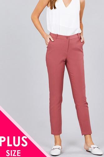 Ladies fashion plus size seam side pocket classic long pants